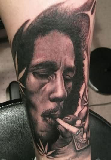 Smoking Bob Tyrrell Portrait Tattoo