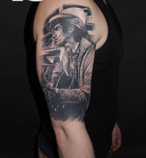 Smoking Cowboy Portrait Tattoo On Half Sleeve