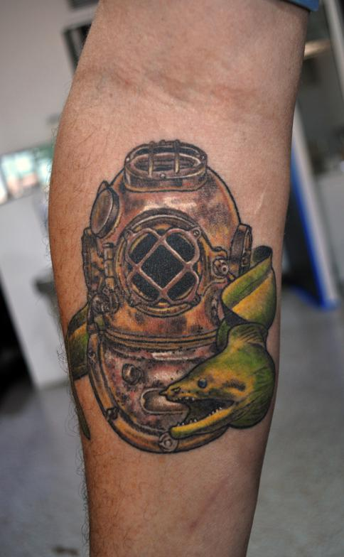 Snake With The Diver Helmet Tattoo