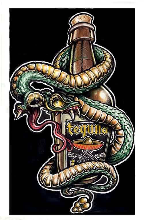 Snake Wrapped Bottle Tattoo Graphic