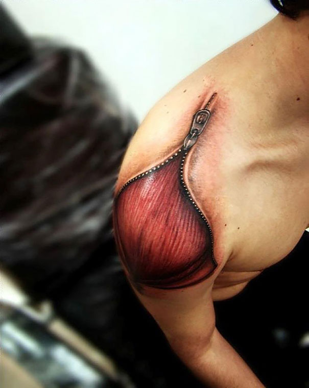 3D Zipped Muscle Tattoo