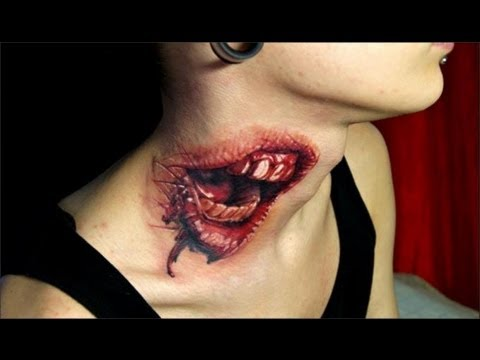 Amazing Horror 3D Tattoo For Neck