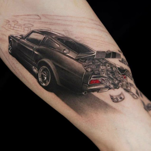 Beautiful 3D Car Tattoo
