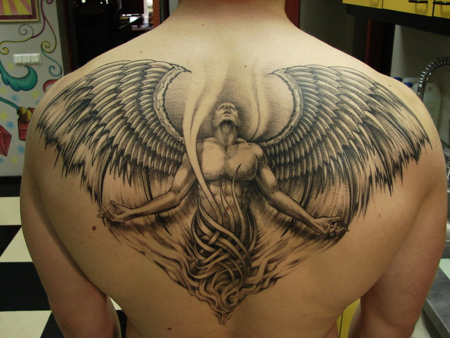 Beautiful 3d angel tattoo design