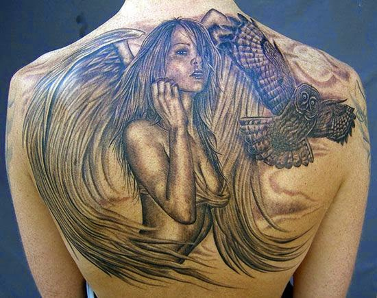 Beautiful 3d angel with amazing owl tattoo