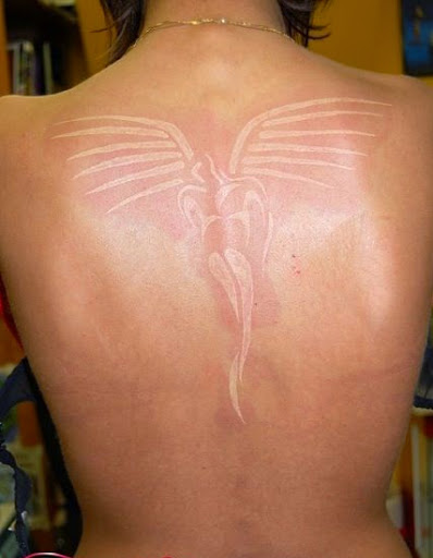 amazing dimnished white angel tattoo