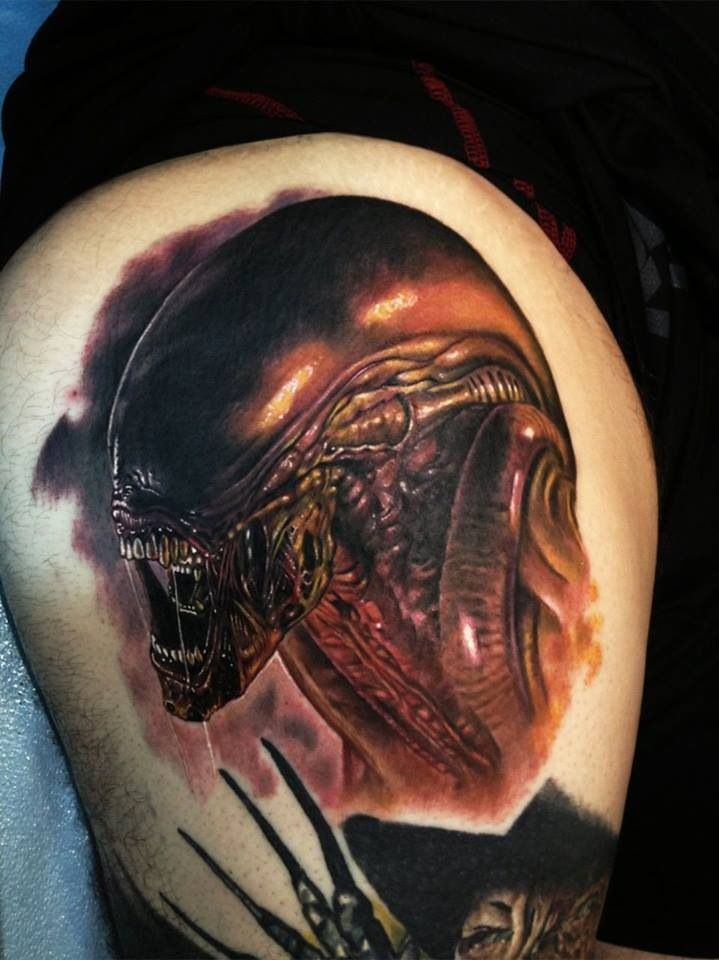 creepy alien tattoo idea perfect men girl