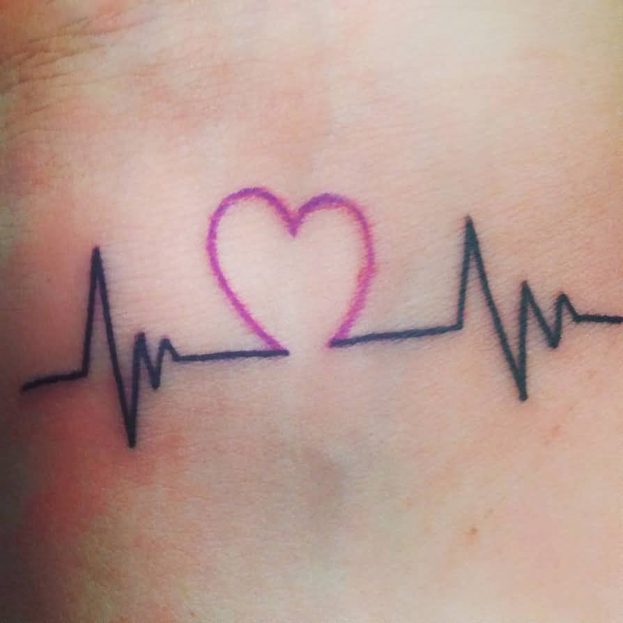 beautiful heart beat tattoo