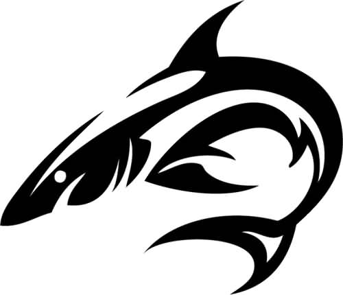 beautiful shark tattoo vector art