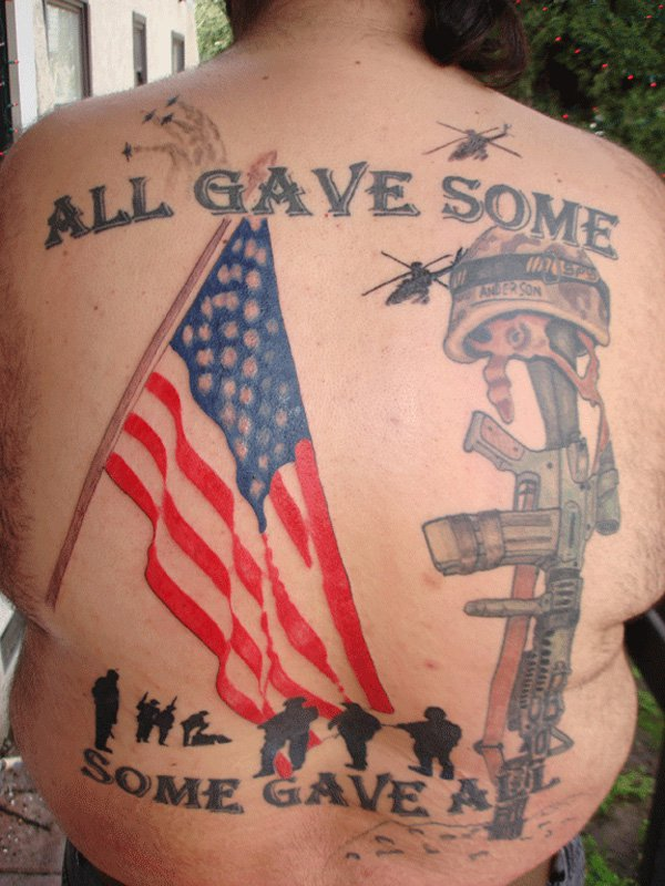 gave some america tattoo