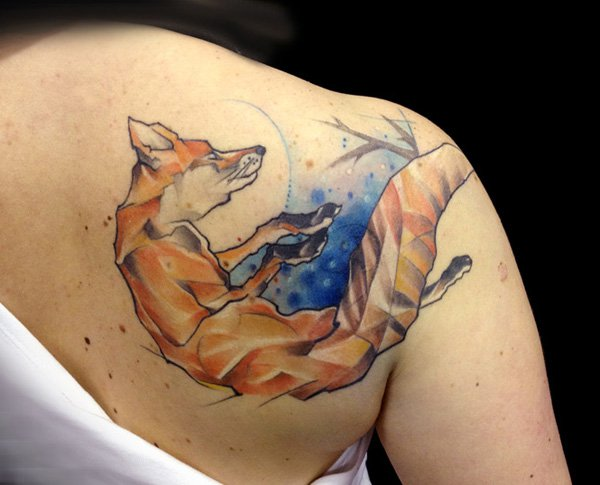 mozila colored fox tattoo