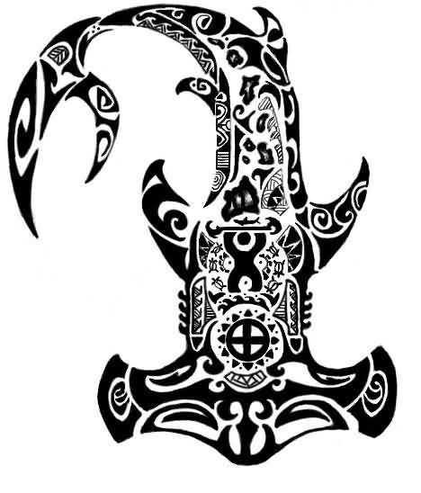 polynesian hammerhead shark tattoo design