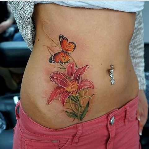 butterfly flower tattoo