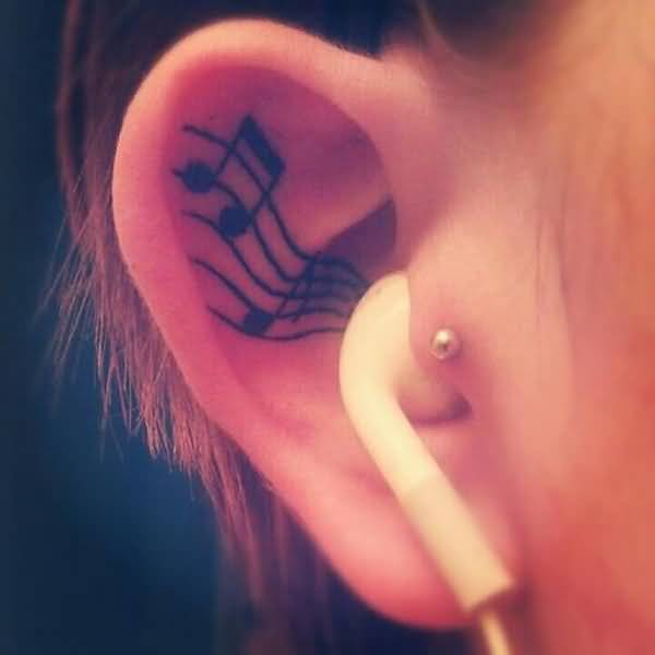 music ear tattoo