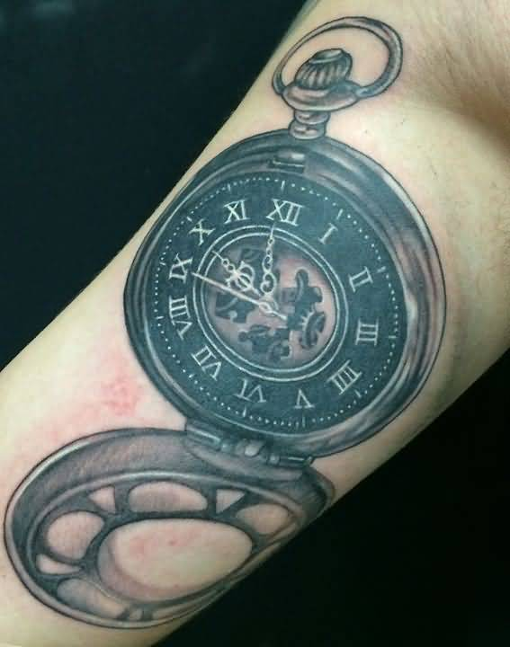 old clock tattoo
