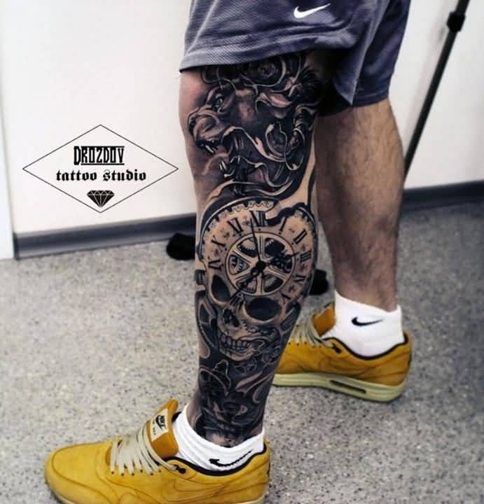 amazing leg tattoo for men