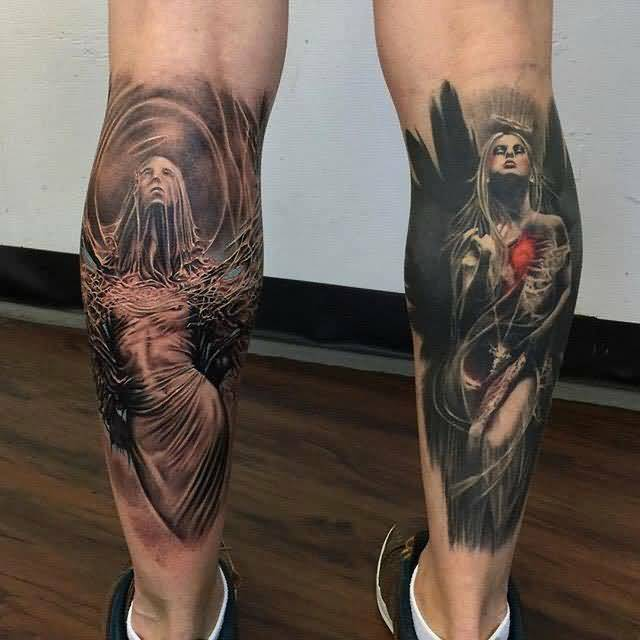 angel leg tattoo