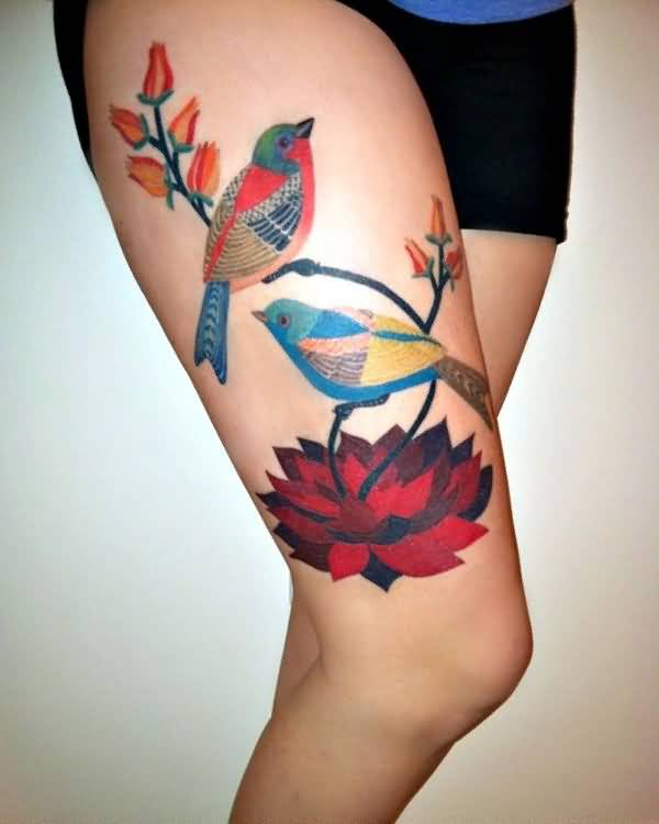 awesome birds leg tattoos