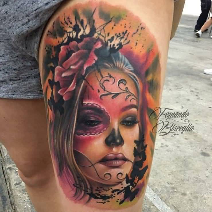 beautiful face leg tattoo