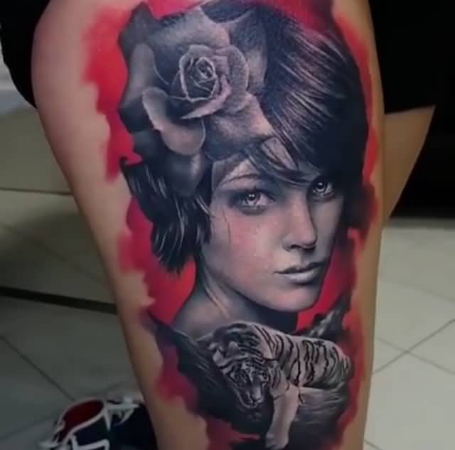 beautiful leg tattoo art
