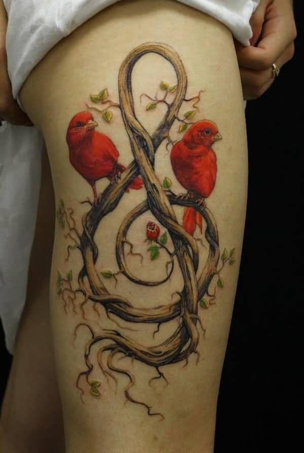 colored birds leg tattoo design for girls