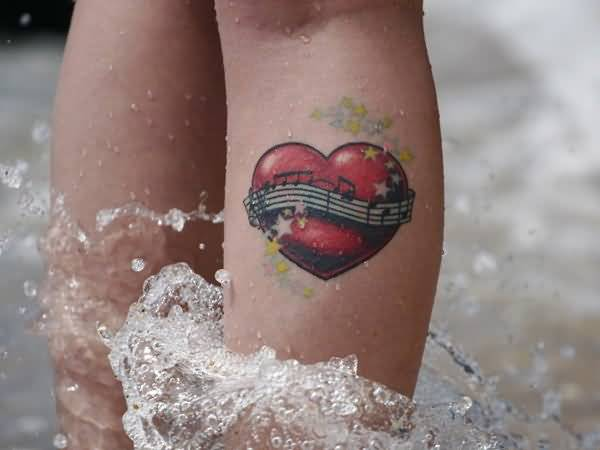 heart leg tattoo for girl