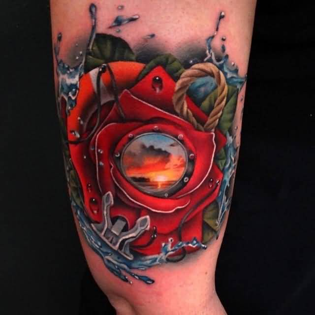 incredible red rose leg tattoo