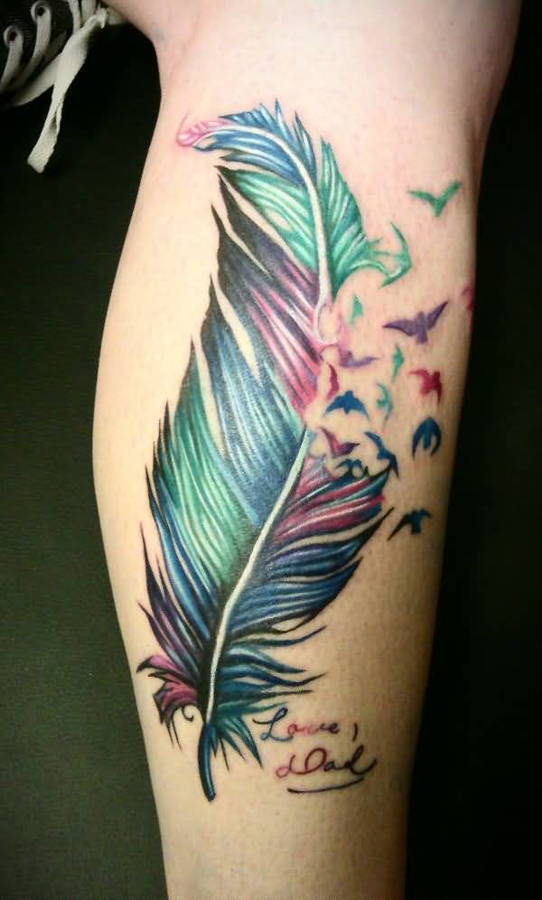 leg feather tattoo design