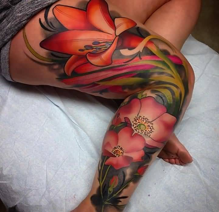 lily tattoo for leg
