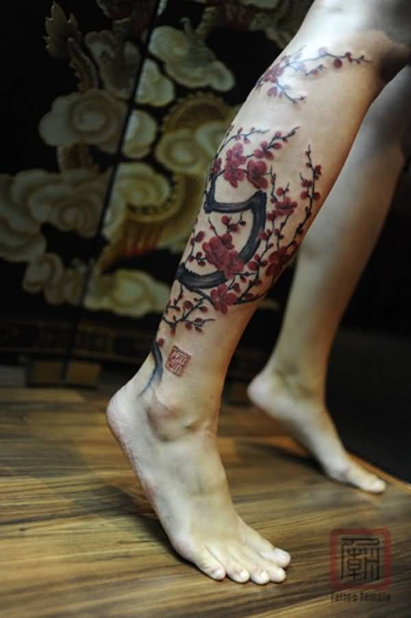 lily tree leg tattoo art