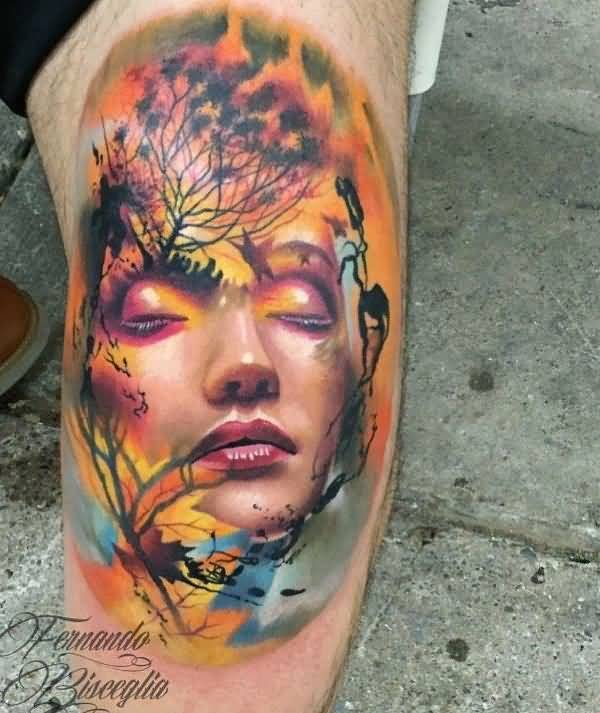 meaningful face leg tattoo