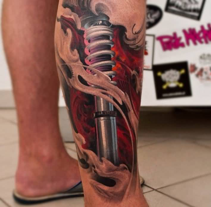 shock absorber leg tattoo