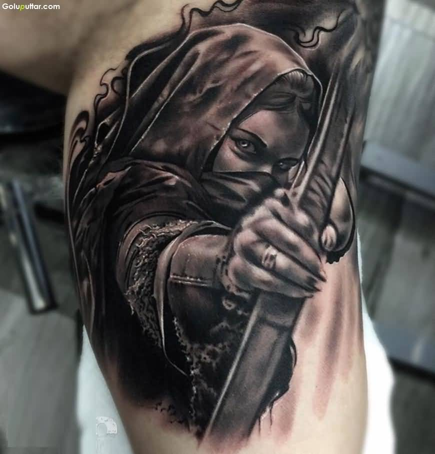 Amazing 3d Arm Tattoo Of Girl With Bow And Arrow