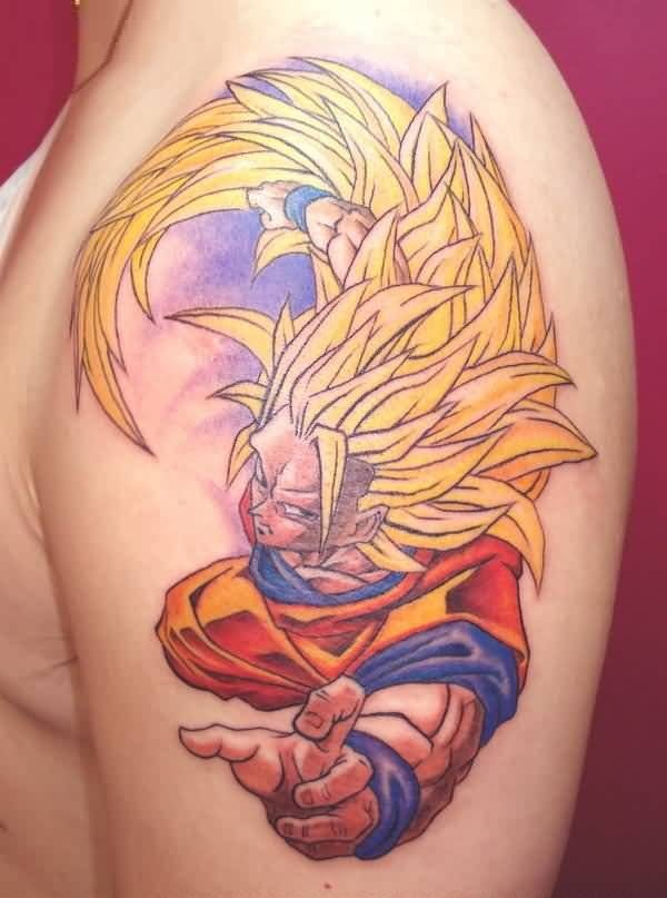 Amazing Animated Dragon Ball Z Goku Tattoo On Shoulder
