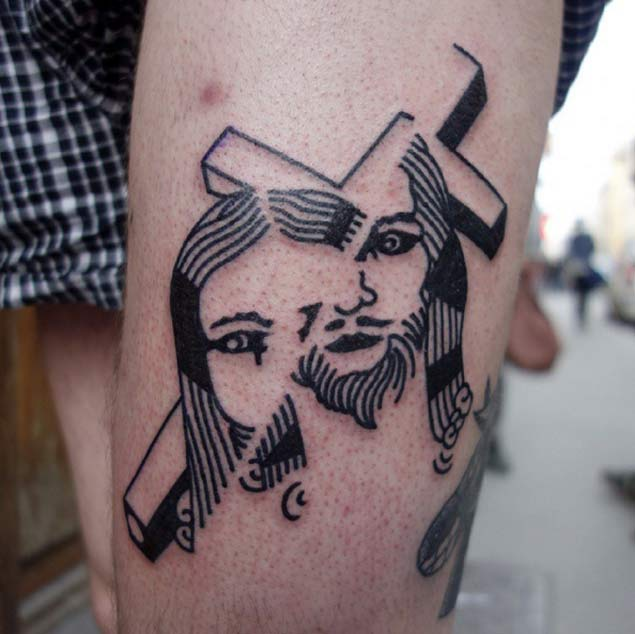Amazing Christian  Unique Jesus Face Tattoo On Thigh