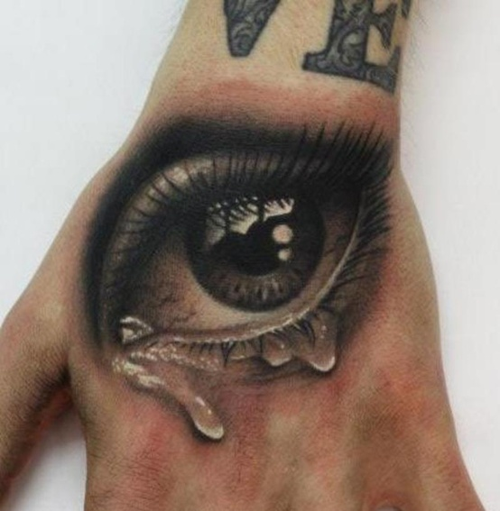 Amazing Crying Eye Tattoo On Men Hand