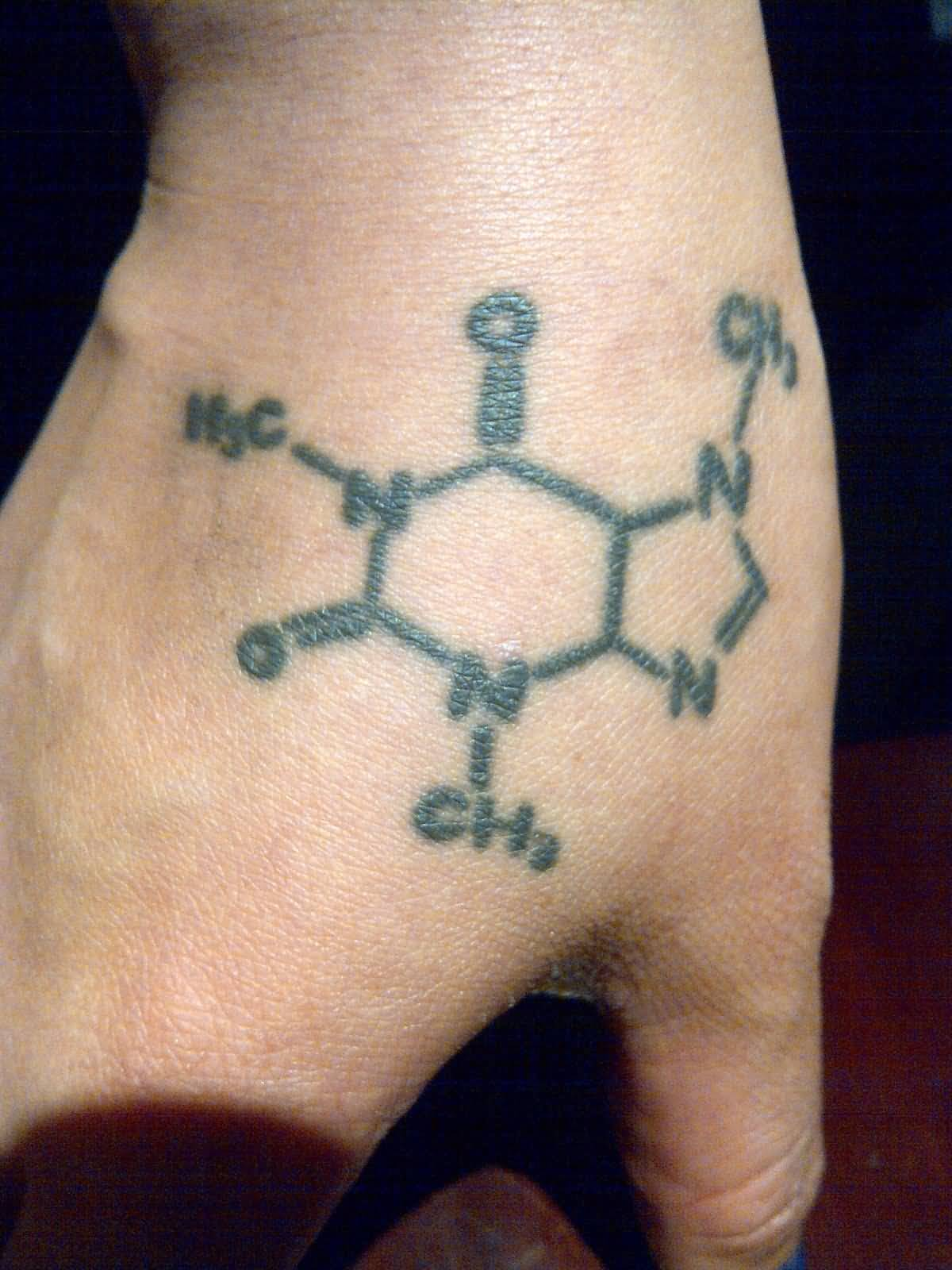 Amazing Drugs Formula Tattoo On Men Hand