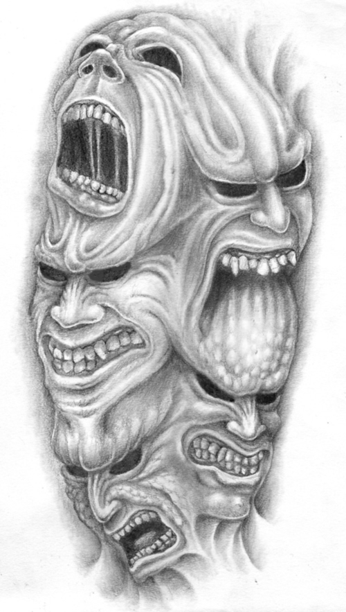 Amazing Many Demon Faces Tattoo Stencil Design