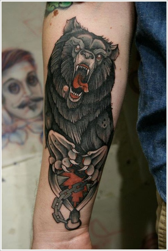 Animated Scary Wild Bear Tattoo On Men Sleeve