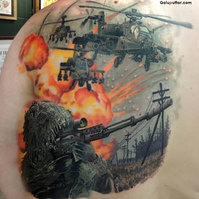 Army Fight And Sniper Tattoo On Men Back