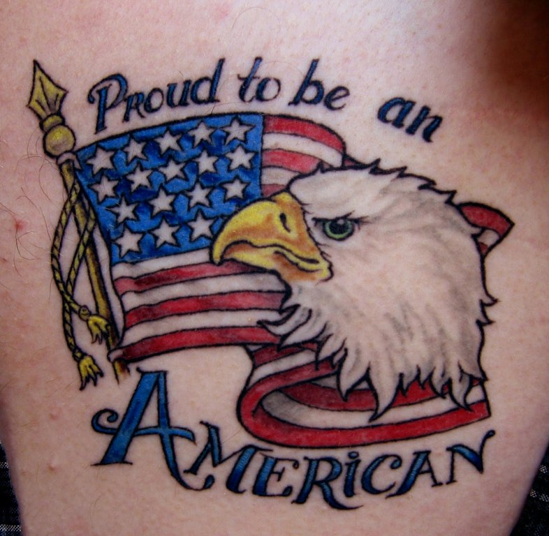 Attractive American US Flag And Eagle Tattoo Design