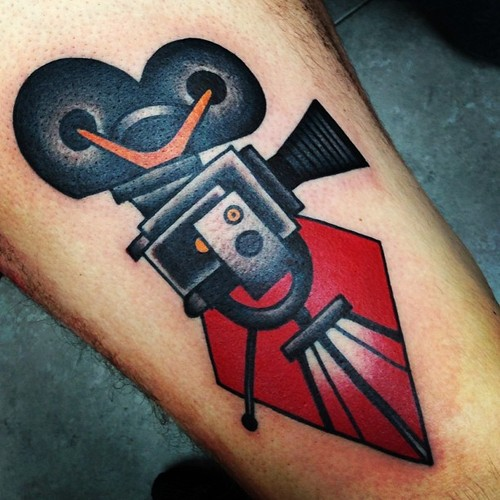 Attractive Old Cinema Camera Tattoo Design On Forearm
