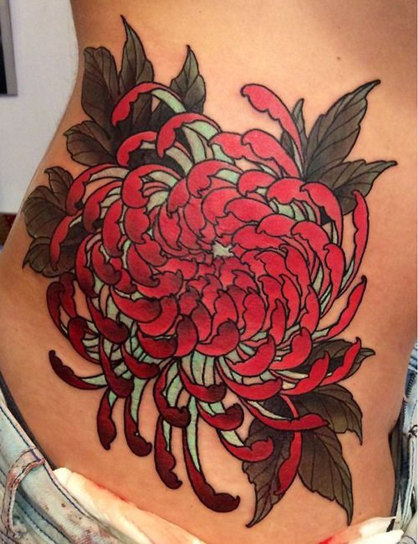 Attractive Red Chrysanthemum Flower Tattoo On Side Body