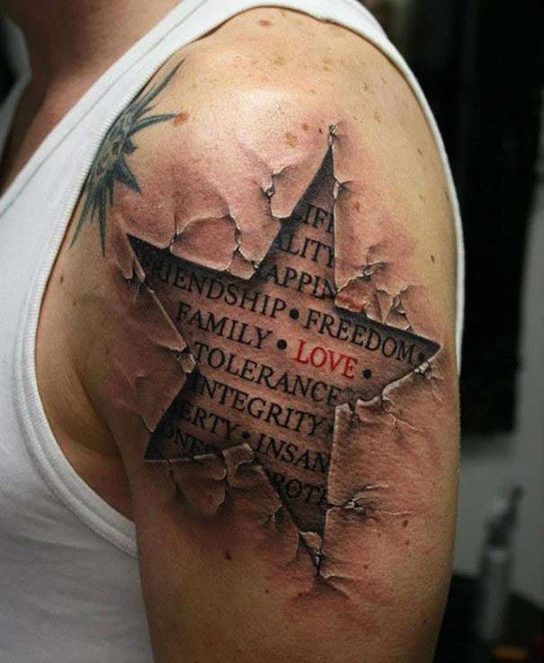 Awesome 3D Ripped Shoulder Of Star With Literary