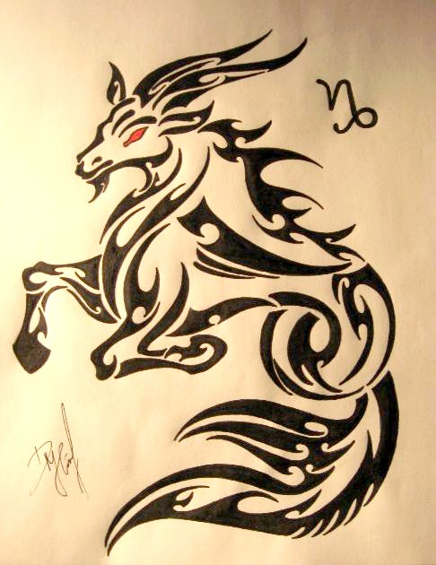 Beilliant Tribal Capricorn Tattoo Stencil  With Red Eyes