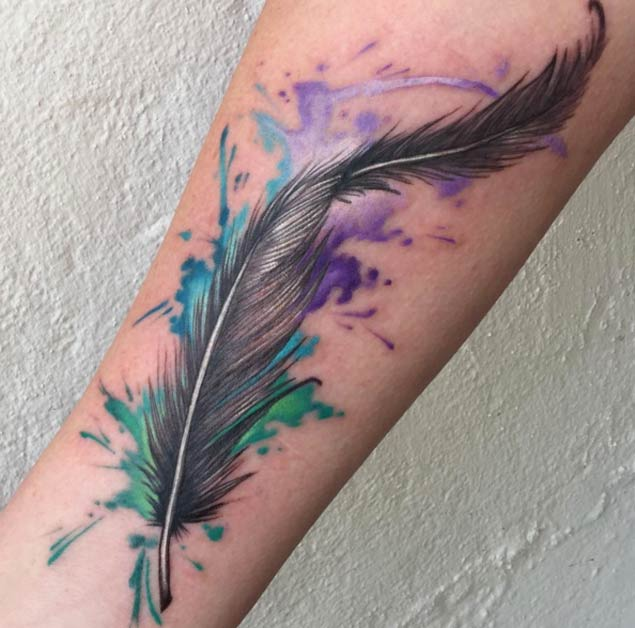Best 3d Feather Watercolor Tattoo On Men Sleeve