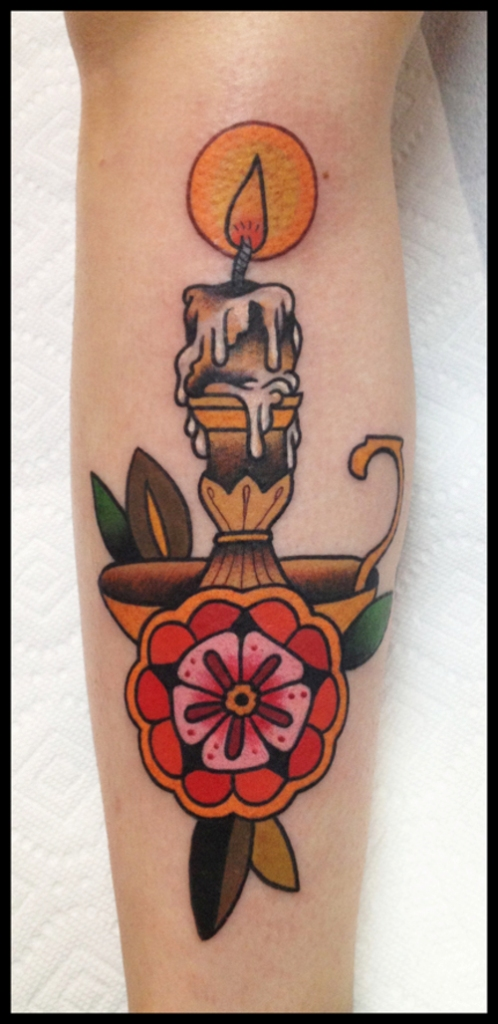 Best Vintage Burning Candle Stand Tattoo On Sleeve
