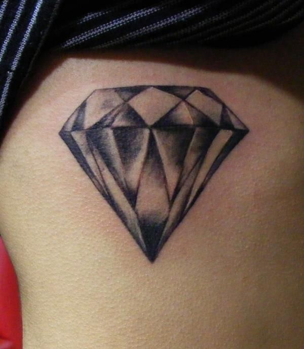 Black And Grey Ink Diamond Tattoo On Girl Rib Side