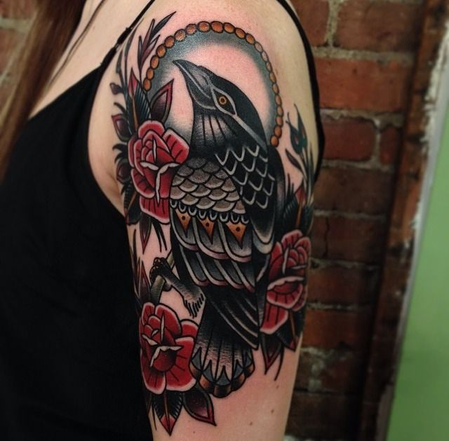 Black Corw And Red Rose Flower Tattoo On Girl Shoulder
