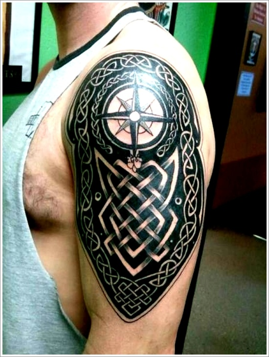 Black Ink Amazing Celtic Knot And Compass Tattoo On Men Shoulder